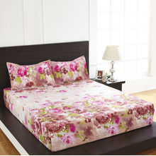Arcade Floral Double Bed Sheet - @home By Nilkamal, Light Brown