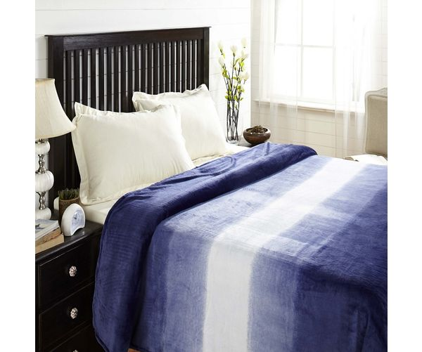 Flannel Double Blanket - @home Nilkamal,  blue