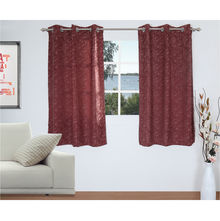 Abstract 112 cm x 152 cm Window Curtain Set of 2 - @home by Nilkamal, Maroon