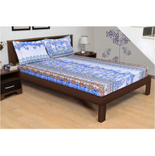 254'x274' Rivera Carol Double Bedsheet - @home By Nilkamal, Blue