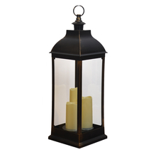 Lantern with 3 Flameless LED Candles- @home by Nilkamal, Black & White