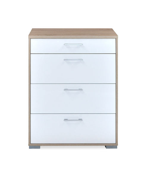 Marilyn High Gloss Chest of 4 Drawers - @home By Nilkamal, Oak and White