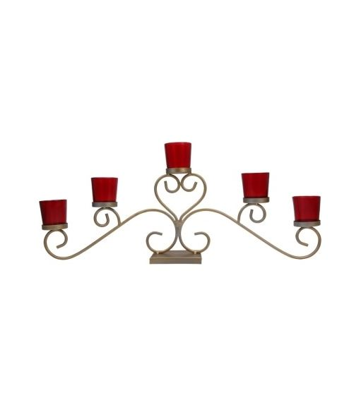 Votive Spread Tealight Holder- @home By Nilkamal, Gold, Red