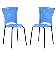Nilkamal Novella 14 without Arm & Cushion Chair Set of 2, Blue