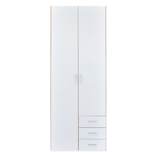 Masters High Gloss 2 Door Wardrobe - @home By Nilkamal, Oak and White