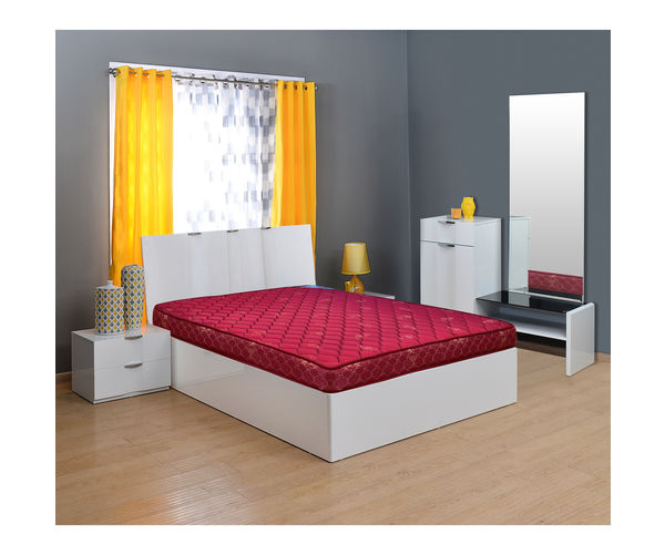 Flora 6 Bonnell Spring Mattress - @home By Nilkamal, 72x48x6,  maroon