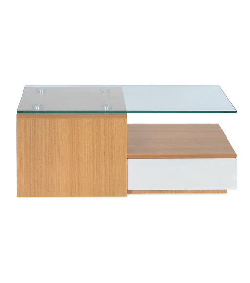 Croissant Center Table - @home By Nilkamal, White with Teak