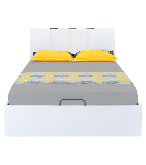Scoop High Gloss Queen Bed with Storage - @home By Nilkamal, White