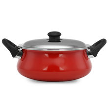 3.8 Litre Classic Induction With Lid Handi - @home By Nilkamal, Red