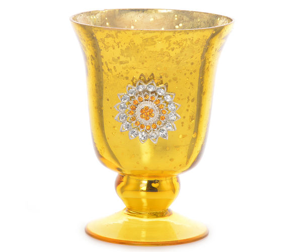 Asma Embelished Large Votive Cup - @home By Nilkamal, Yellow