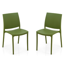Nilkamal Novella 08 without Arm & Cushion Chair Set of 2, Green