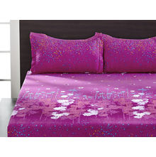 Seasons Floral Double Bed Sheet - @home By Nilkamal, Dark Purple