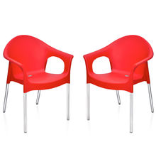 Nilkamal Novella 09 with Arm & without Cushion Chair Set of 2, Red