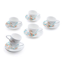 Diana Cup & Saucer Set of 6 - @home by Nilkamal, Blue & Peach