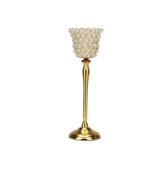 Crystal Drops Medium Cup Candle Holder- @home By Nilkamal, Gold