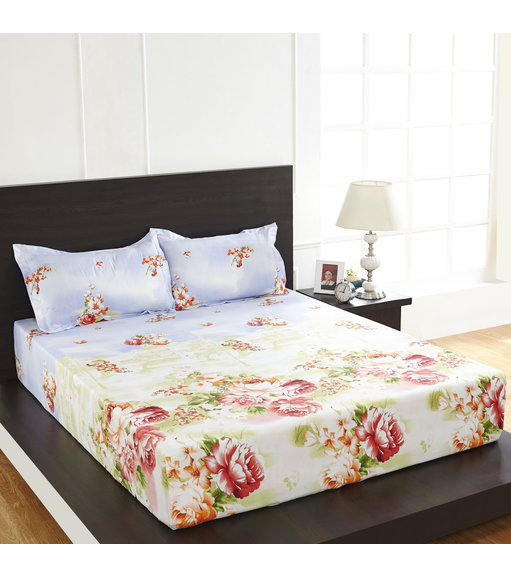 Arcade Floral Double Bed Sheet - @home By Nilkamal, Red