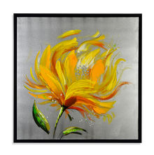 Flower Winter Picture Painting 80 x 80 - @home By Nilkamal, Yellow & Grey