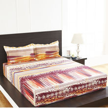 Arcade Image Double Bed Sheet - @home By Nilkamal, Mustard