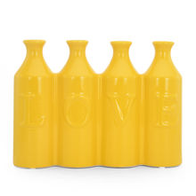Urban Sun 4 Vases - @home by Nilkamal, Yellow & Brown