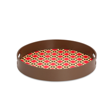 Jharokha Round Wood Tray - @home by Nilkamal, Brown