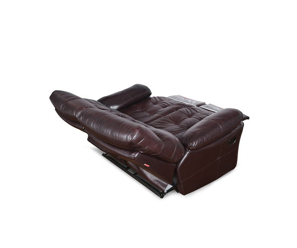 Beverly Two Seater Sofa With 2 Manual Recliners- @home Nilkamal,  burgundy