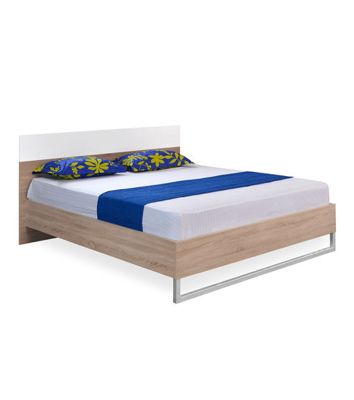 Marilyn High Gloss King Bed - @home By Nilkamal, Oak and White