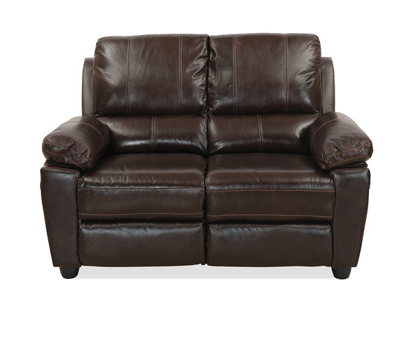 Marshall 2 Seater Sofa with Half Leather -@home By Nilkamal, Russet Brown