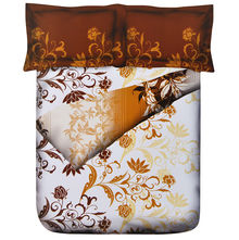 Floret Double Bed Sheet - @home Nilkamal,  brown