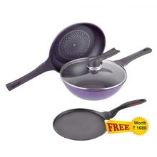 Wonderchef Induction Diamond Pan Set with Free Dosa Tawa