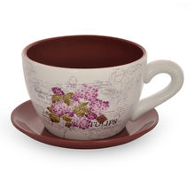 Garden Mini Cup & Saucer Planter - @home by Nilkamal, Maroon