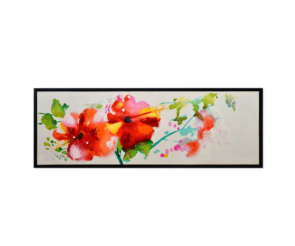Jardin Spring Picture Painting 50 x 150 - @home By Nilkamal, Brown & Fuschia