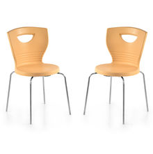 Nilkamal Novella 15 without Arm & Cushion Chair Set of 2, Biscuit