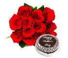 Ferns N Petals Fathers Day - Red Roses with Cake