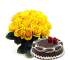 Ferns n Petals Yellow Roses & Cake Diwali Gifts