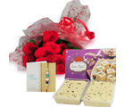 Ferns N Petals Red Roses N Sweets With Express Rakhi