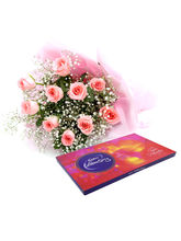 Ferns N Petals Celebrations With Pink Roses - Rose...