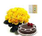 Ferns N Petals Yellow Roses With Cake Express Rakhi