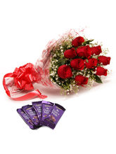 Ferns N Petals 10 Roses & Dairy Milk-Rose Day