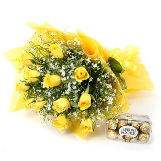 Ferns N Petals Hearts Of Gold - Rose Day
