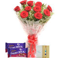 Ferns N Petals Red Roses N Express Rakhi