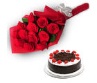 Ferns N Petals Roses With Chocolate Cake