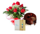 Ferns N Petals Roses With Cake Express Rakhi