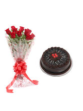 Ferns N Petals Red Rose With Cake - Vl