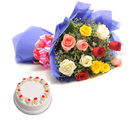 Ferns N Petals Mix Flowers N Cake-Vl