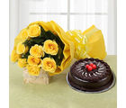 Ferns N Petals Yellow Roses and Cake (EXFNP15)