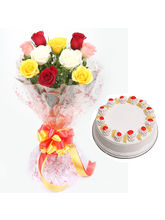 Ferns N Petals Pineapple Cake With Roses - Vl