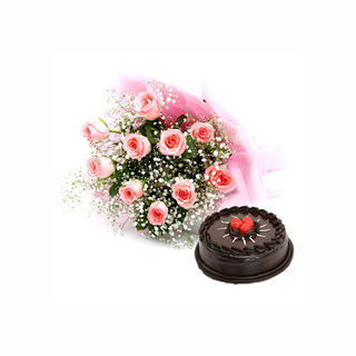 Ferns N Petals Pink Roses With Cake - Vl