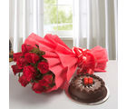 Ferns N Petals Red Rose with Cake (EXFNP10)