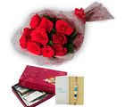 Ferns N Petals Red Roses N Kaju Burfi With Express Rakhi