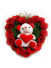 Ferns N Petals Roses N Soft Toy-Rose Day